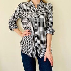 100% cotton Black/White Gingham button down shirt